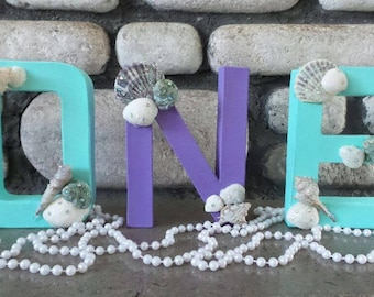 Mermaid letters, One letters, Mermaid One, First Birthday party, Birthday party decor, First birthday photo prop, Under the Sea birthday