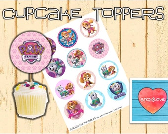 """Paw patrol girls  printables 2 """" circles  cupcake toppers stickers"""