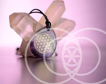 Natural stone amethyst flower of life pendant