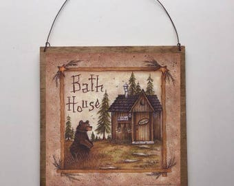 8x8 Bath House Country Bathroom Sign Bath Decor Stars Bears with Choice of Black Wire or Brown Ribbon for Easy Hanging
