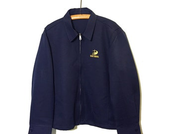 Vintage Custodial Rockabilly Navy Blue Jacket. Zipper, Pleated Back, Adjustable Waist Flaps w/ Buttons. Eisenhower Garage Mechanic Worker.