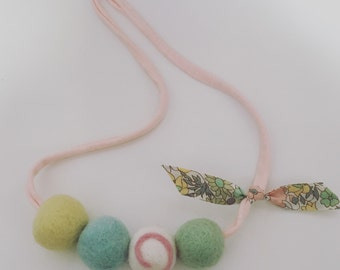 Woolie Ball Necklace - Easter pastels