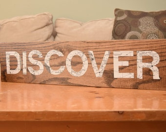 """Wood and Map """"Discover"""" Sign"""