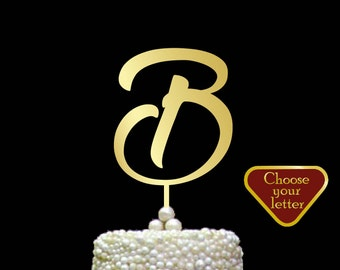 Letter b Cake Toppers for Wedding, Single Letter Cake Topper, Wedding Cake Topper B, Initial Cake Topper,  Monogram Cake Topper, CT#035