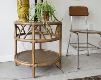 Round Bamboo Side Table with Shelf