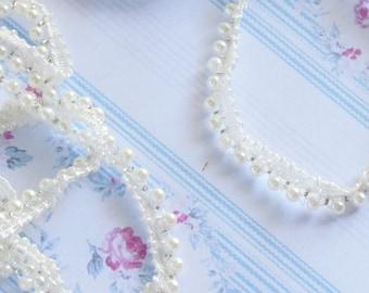 White pearled ribbon 8mm