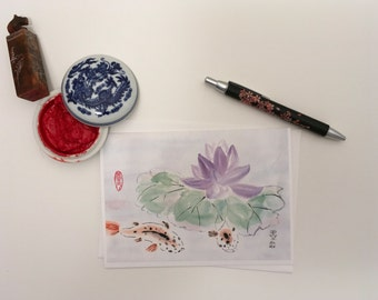 Blank Cards, Pack of 5 with Envelopes, Lotus and Koi, Any Occasion, Sumi-e, Chinese Watercolor, Print