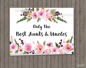 Pregnancy Announcement Card, Only the Best Aunts and Uncles Get Promoted to Great Aunt & Uncle, Pregnancy Reveal card, Floral New baby Card