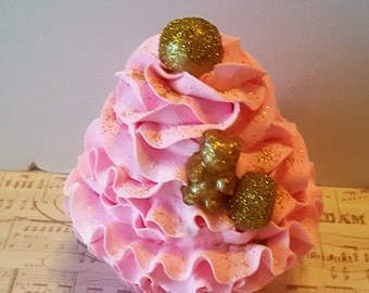 Pink and Gold Fake Cupcake, Gold Gumball, Gummy Bear, and Gumdrop, Shabby Cottage Candy Decor, Home Accents, Party Decorations, Props