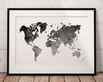 Map Of The World Print Art, World Map Print Art, Map Of The World Wall Art, World Map Poster Art, Map Of The World Printable, World Map Art