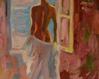 The girl near to the window