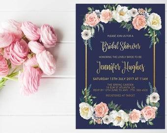 Bridal Shower Invitation Template, Navy Bridal Shower Invite Printable, Shabby Chic Floral Bridal Invite, Watercolor Floral Invitation