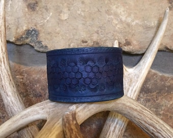 """Leather Handcrafted Cuff Leather Bracelet Leather Wristband 8"""" Blue Men's Leather Women's Leather Handmade Gifts One-of-a-Kind Made in USA"""
