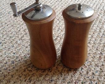 Vintage wooden salt shaker and pepper grinder