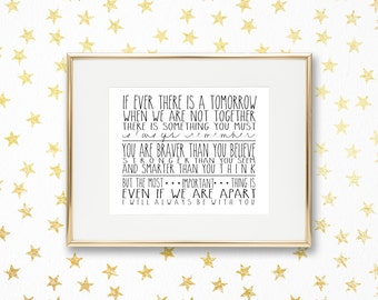 If Ever There is a Tomorrow   Winnie the Pooh - A.A. Milne   8x10   Digital Print   Instant Download   Inspirational Quote