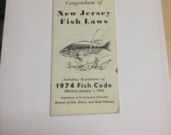 Vintage Compendium Of New Jersey Fish Laws 1974 N J Fish Code