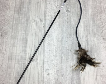 Cat toy | Feathers on a leather string cat teaser toy | Feather cat toy | Interactive cat toy | Leather string cat toy | Strong, durable