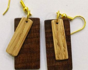 Wooden Earrings, Beech and Oak Earrings, Wooden Jewelry, Wood Slices Earrings