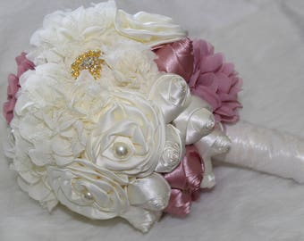 Ivory and Mauve (pink) flower  and Satin Rose Bridal  Wedding Bouquet