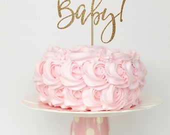 Baby shower cake topper gold, gold baby shower cake top, gender reveal cake topper, baby shower decorations, hello baby cake topper
