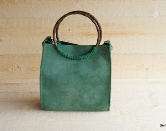 Green leather (shopping) bag / shopper with bamboo handles