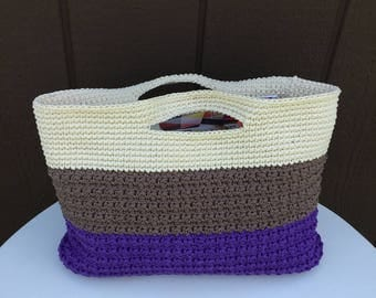 Crochet Tote Bag, Crochet Striped Purse, Crochet Color Block Purse, Striped Pool Tote Bag, Striped Beach Tote Bag, Color Block Tote Bag