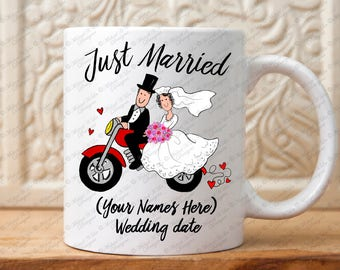 Just Married Wedding Gift, Just Married Motorcycle Mug, Just Married Gift, Personalized Wedding gift, Wedding Shower gift, Motorcycle gift
