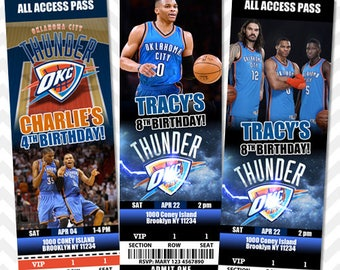 OKC Thunder Invitation, OKC Invitation, Thunder Birthday Invite, Okc VIP Pass, Okc Ticket Invitation, Basketball Invitation, Save the Date