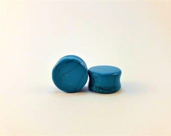Turquoise ear plugs dilator 14mm 10mm, carved turquoise dilator, healing stone dilators, natural stone plugs, blue ear plugs, blue dilators