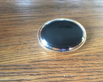 Black glass mourning brooch - victorian style - gold tone frame