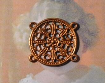 Vintage French Filigree Bracelet Link Antique Gold Toned Raw Brass Stamping 1 Piece 484J