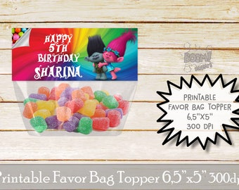 Trolls favor bag topper, Trolls birthday party, Trolls candy topper, Printable bag toppers, Birthday party supplies, Trolls birthday