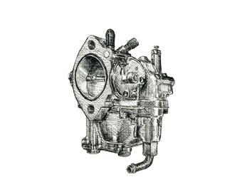 S&S Super E Carburetor Pen and Ink Print Motorcycle Art