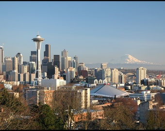 "Seattle Skyline Poster Print ~ Space Needle ~ 22"" X 13"""