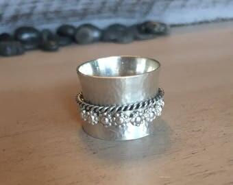 Sterling Silver Hammered Spinner Ring