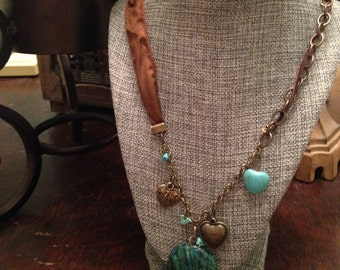 Silk, Leather, and Turquoise Necklace and Bracelet Set