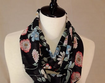 Black Chiffon Scarf (Floral Print in Two Available Styles)
