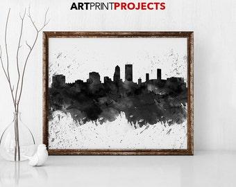 Jacksonville Florida Art, Jacksonville  Skyline, black & white, Jacksonville Florida map, Jacksonville Florida skyline, Jacksonville  print