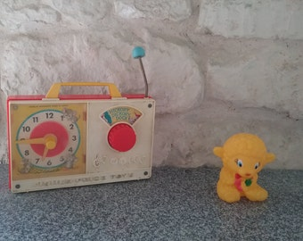 Toy Fisher Price, musical Radio Vintage, Hickory Dickory Dock, 1964