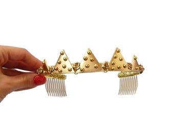 Gold Crown Headband Gold Bridal Crown Bridal Headdress Wedding Gold Crown Delicate Gold Crown Goddess Crown Goddess Headpiece Headband