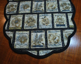 Handmade Scalloped Seed Packet and Gardening Implements Table Runner