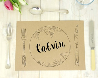 Kraft Wedding Table Place Mat - Personalised Placecard - Floral Placemat - Geometric Placemat - Table Setting - Birthday Party - Table Decor