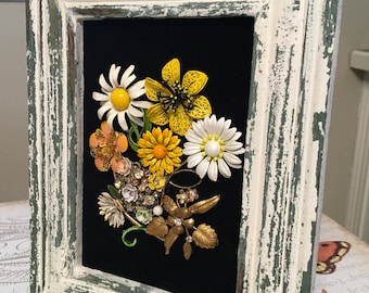 Vintage Jewelry Daisy Floral Framed Art Collage Picture