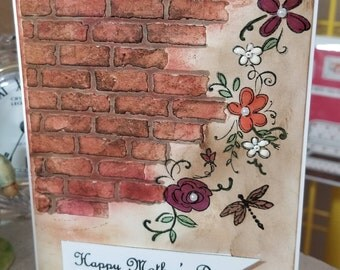 Happy Mother's Day - Brick wall with flowers