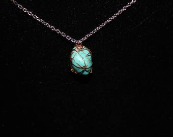Copper Wire Wrapped Blue Turquoise Necklace, Turquoise Pendant Necklace, Turquoise Jewelry