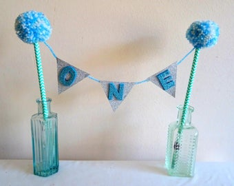 Glitter Custom Made Handmade Blue Baby Boys Age Birthday PomPom Cake Topper