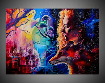 Force of nature oil painting, Fox, Fox painting, Fox picture, Fox art, Fox decor, Fox wall art, Fox wall decor, Fox face, Oil painting