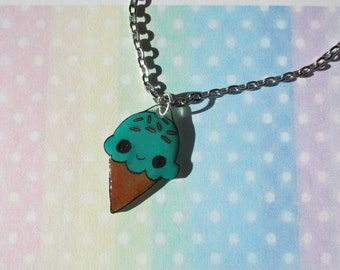 Kawaii Blue Ice Cream Necklace