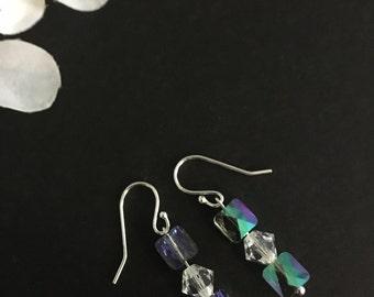 Crystal Paradise Earrings, Bridesmaid Gift, Dangle Earrings, Sensitive Ears, Hostess Gift, Sterling Silver Earring