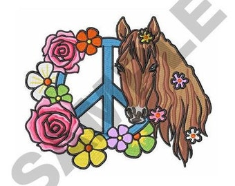 Flowers Peace Horses - Machine Embroidery Design